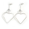 Long Open Heart Crystal Drop Earrings In Silver Tone Metal - 75mm Tall