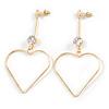 Long Open Heart Crystal Drop Earrings In Gold Tone Metal - 75mm Tall