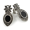 Marcasite Crystal Floral Clip On Earrings In Aged Silver Tone - 35mm Tall