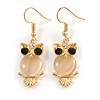 Stunning Crystal Owl Drop Earrings In Gold Tone - 45mm Long