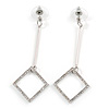 Long Crystal Geometric Dangle Earrings In Silver Tone Metal - 60mm Long