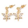 Delicate Small CZ Butterfly Drop Earrings In Gold Tone - 20mm Long