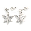 Delicate Small CZ Butterfly Drop Earrings In Silver Tone - 20mm Long