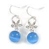 Romantic Clear Crystal Flower with Blue Glass Ball Bead Drop Earrings In Silver Tone - 45mm Long