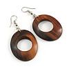 Trendy Brown Oval Wood Drop/ Hoop Earrings - 60mm L
