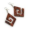 Trendy Dark Brown Square Wood 'Hook' Drop Earrings - 65mm Long