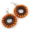 Orange/ Brown Wood Bead Hoop Earrings - 65mm Long