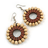 Natural/ Brown Wood Bead Hoop Earrings - 65mm Long