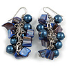 Dark Blue Glass Bead, Shell Nugget Cluster Dangle/ Drop Earrings In Silver Tone - 60mm Long