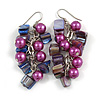Purple Glass Bead, Shell Nugget Cluster Dangle/ Drop Earrings In Silver Tone - 60mm Long