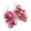 Pink Glass Bead, Shell Nugget Cluster Dangle/ Drop Earrings In Silver Tone - 60mm Long