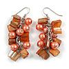 Peach Glass Bead, Burnt Orange Shell Nugget Cluster Dangle/ Drop Earrings In Silver Tone - 60mm Long