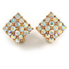 AB Crystal Square Clip On Earrings In Gold Tone Metal - 15mm Wide