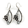 Vintage Inspired Open Oval Crystal Floral Drop Earrings In Silver Tone - 55mm Long