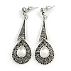 Vintage Inspired Marcasite Teardrop Crystal Drop Earrings In Aged Silver Tone (Hematite Crystals) - 55m L