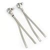 Silver Tone Chain Clear CZ Dangle Earrings - 8cm Long