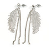 Silver Tone Feather and Chains Drop Earrings - 7cm Tall
