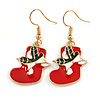 Christmas Stocking Red/ White/ Green Enamel Drop Earrings In Gold Tone - 40mm Tall