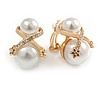 Statement Double Faux Pearl Crystal Clip On Earrings In Gold Tone - 25mm Tall