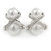 Statement Double Faux Pearl Crystal Clip On Earrings In Silver Tone - 25mm Tall