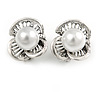 Vintage Inspired 3 Petal Floral Faux Pearl Clip On Earrings In Aged Silver Tone - 20mm