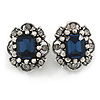 Vintage Inspired Square Midnight Blue/ Clear Crystal Clip On Earrings In Aged Silver Tone - 20mm Tall