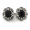 Vintage Inspired Square Black/ Clear Crystal Clip On Earrings In Aged Silver Tone - 20mm Tall