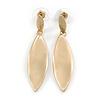 Modern Twisted Leaf Shape Drop Earrings In Gold Tone Satin Finish - 50mm Tall