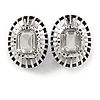 Vintage Inspired Dome Shape Clear Glass Oval Clip On Earrings In Silver Tone - 23mm Tall