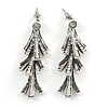 Vintage Inspired Triple Leaf Textured Crystal Drop Earrings In Aged Silver Tone - 55mm Tall