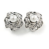 Vintage Inspired Crystal Pearl Rose Clip On Earrings In Aged Silver Tone - 20mm Diameter