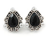 Vintage Inspired Teardrop Black Glass, Clear Crystal, Pearl Clip On Earrings In Aged Silver Tone - 25mm Tall