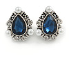 Vintage Inspired Teardrop Midnight Blue Glass, Clear Crystal, Pearl Clip On Earrings In Aged Silver Tone - 25mm Tall