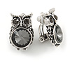 Vintage Inspired Grey Crystal Owl Clip On Earrings In Aged Silver Tone Metal - 22mm Tall
