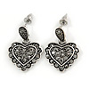 Vintage Inspired Hematite Crystal Heart Drop Earrings In Aged Silver Tone Metal - 25mm Drop