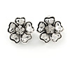 Vintage Inspired Crystal Flower Clip On Earrings In Aged Silver Tone Metal - 20mm Diameter