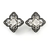 Marcasite Crystal Floral Clip On Earrings In Aged Silver Tone - 18mm