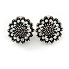 Vintage Inspired AB Crystal Sunflower Floral Clip On Earrings In Aged Silver Tone - 20mm
