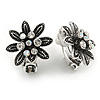Marcasite Crystal Floral Clip On Earrings In Aged Silver Tone - 20mm