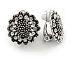 Vintage Inspired Crystal Sunflower Floral Clip On Earrings In Aged Silver Tone - 20mm