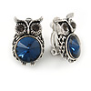 Vintage Inspired Blue/ Grey Crystal Owl Clip On Earrings In Aged Silver Tone Metal - 22mm Tall
