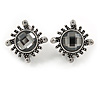 Vintage Inspired Round Faceted Dim Grey Crystal Clip On Earrings In Aged Silver Tone Metal - 20mm D