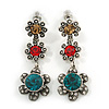 Teal/ Red/ Citrine Crystal Floral Drop Earrings In Aged Silver Tone Metal - 45mm Tall