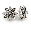 Vintage Inspired Crystal Floral Clip On Earrings In Aged Silver Tone Metal - 20mm D