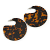 Large Trendy Tortoise Shell Effect Brown And Black Acrylic/ Resin Disk Earrings - 60mm Drop
