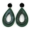 Statement Dark Green/ Black Acrylic Teardrop/ Hoop/ Drop Earrings - 80mm Long