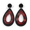 Statement Black/ Red Acrylic Teardrop/ Hoop/ Drop Earrings - 80mm Long