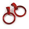 Statement Red/ Black Acrylic Hoop Drop Earrings - 65mm Drop