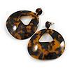 Large Oval Tortoise Shell Effect Brown/ Black Acrylic/ Resin Drop Earrings - 70mm Long