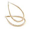 Large Thick Etched Oval Hoop Earrings In Gold Tone - 70mm L